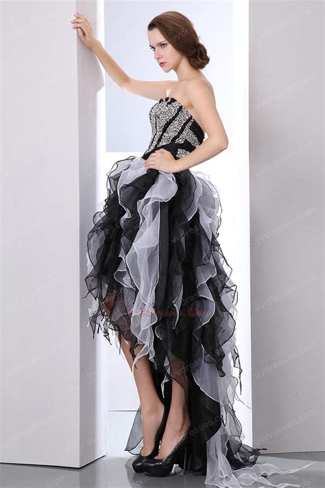 high low ruffled skirt black and white organza prom dress
