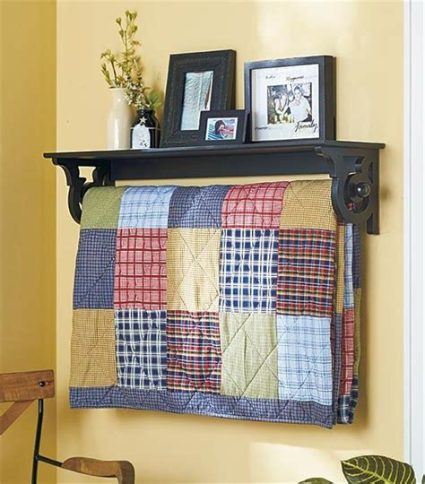 Quilt Hangers For The Wall by Deluxe Quilt Blanket Holder Wall Rack With Shelf Scrolled