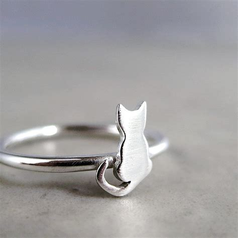 cat ring sterling silver tiny kitten animal jewelry