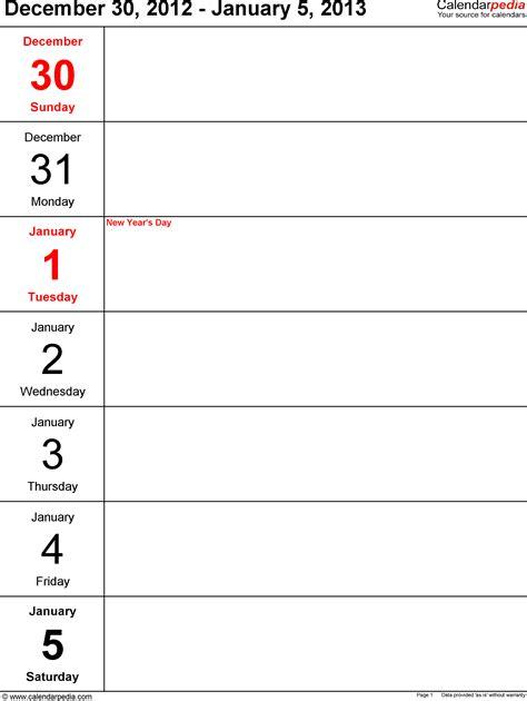 2013 Calendar Template 2013 Weekly Calendar Template For Word Calendar Template