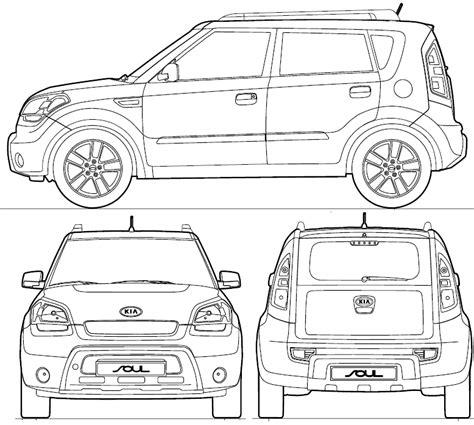 2009 Kia Soul Hatchback Blueprints Free Outlines Kia Soul Wrap Template