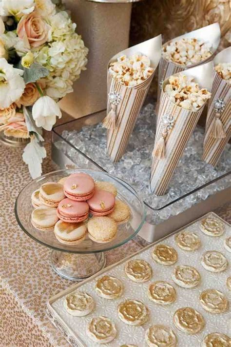rose themed dessert rose gold dessert table idea www madampaloozaemporium com