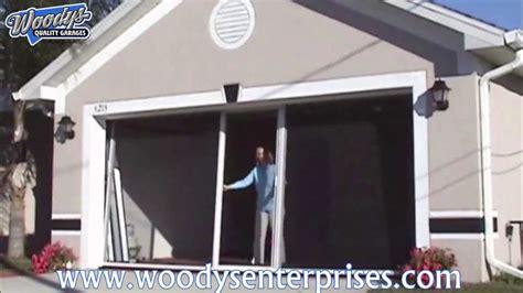 Garage Door Screen System Breezy Living Retractable Garage Screen Door System Demonstration By Woodys Enterprises