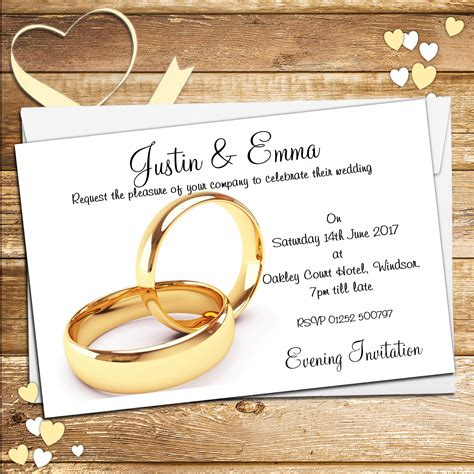 Wedding Invitations Ring Design by 10 Personalised Wedding Gold Rings Invitations Day Evening N15