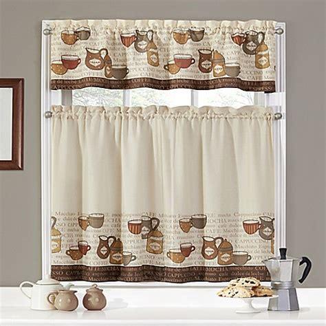 Coffee Print Kitchen Curtains Coffee Talk Window Curtain Tier Pair And Valance Set Bed Bath Beyond