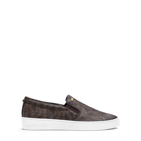 michael kors slip on sneakers michael kors keaton logo slip on sneaker in brown lyst