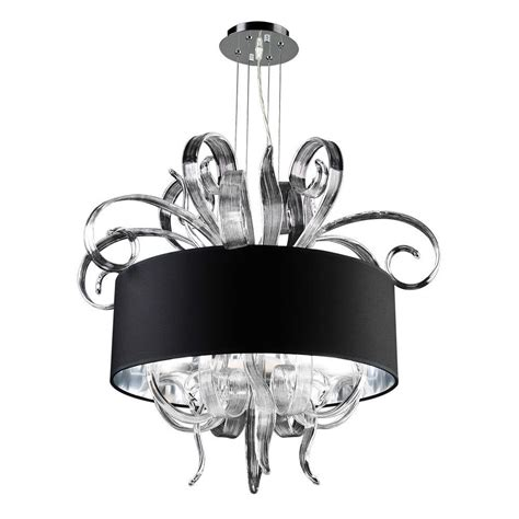 Chandelier Glass Shade Plc Lighting 4 Light Polished Chrome Chandelier With Black Fabric Shade And Clear Glass Shade