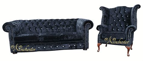 chesterfield swarovski crystallized 3 seater wing