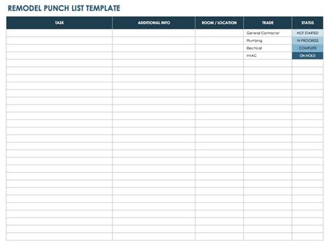 punch list remodel punch list template free punch list