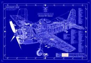 Blue Print Drawing Portraits Of Ourwing Saircraft