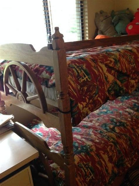 wagon wheel bedroom set vintage wooden western wagon wheel bunk bed 2 twin