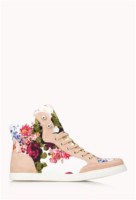floral high heels forever 21 lyst forever 21 favorite floral sneakers in pink