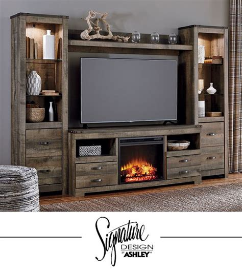 living room entertainment furniture trinell entertainment wall fireplace insert option tv