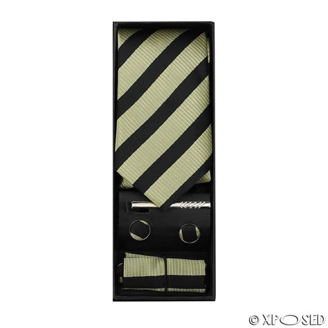 Set Tie Tie Clip new mens 4 tie set gift box cufflinks pocket square