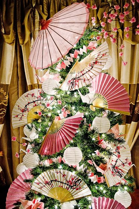 japanese themed christmas tree 17 best images about asian themed trees on origami cranes paper fans and