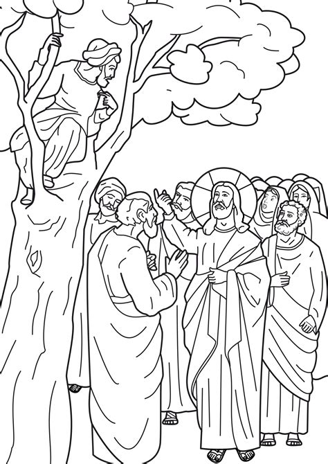 jesus and zacchaeus coloring pages zacchaeus in a tree