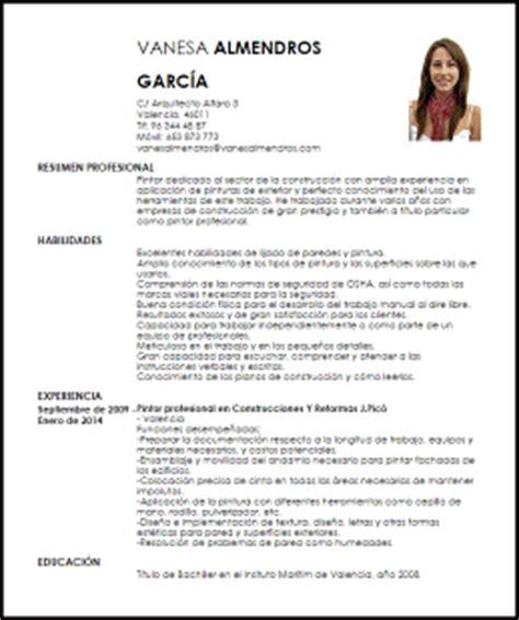 Modelo De Curriculum Vitae Profesional 2014 Modelo Curriculum Vitae Pintor Profesional Livecareer