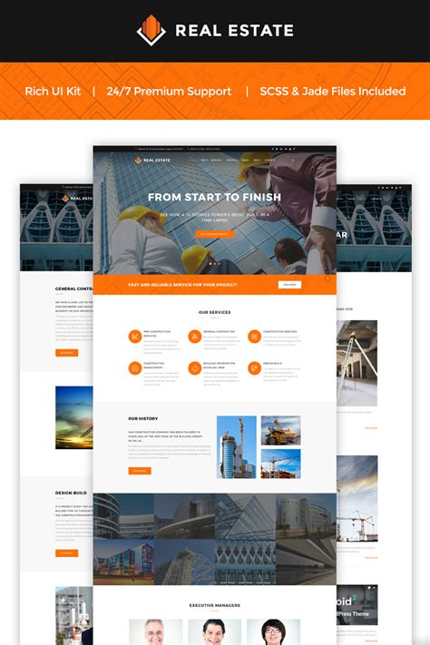 construction website design for harrison homes your web construction company landing page template