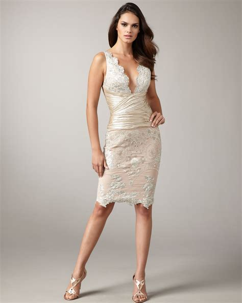 Mandalay V neck Lace Dress in Beige (****)   Lyst