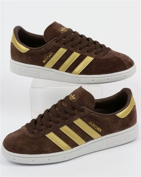 adidas munchen trainers brown gold shoes originals classic