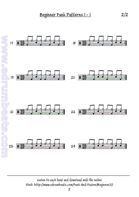 drum pattern lesson beginner funk drum beat lesson 1 page 2 drum notation