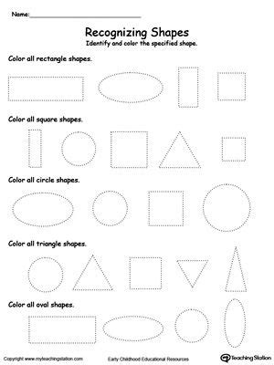 recognizing shapes shapes worksheets
