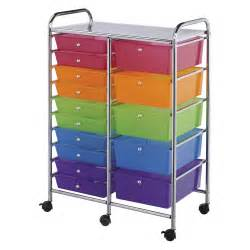 blue studio 15 drawer multi colored storage cart