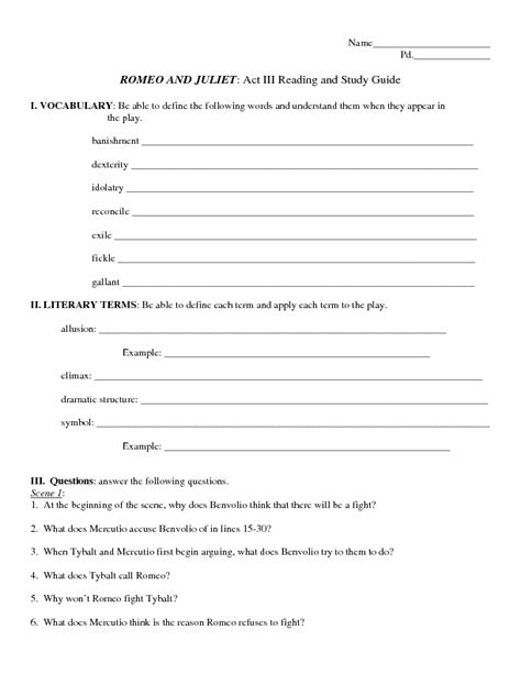 romeo and juliet themes worksheet answers romeo and juliet main idea