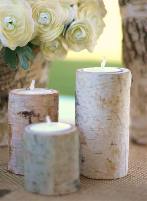 birch bark candle holders rustic home decor gift