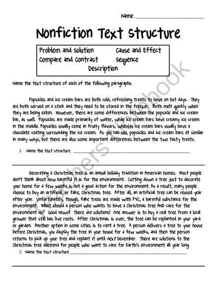 Nonfiction Text Structure Worksheet From Crafting