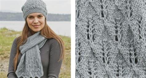knitting pattern scarf and hat set lake district knitted lace scarf and hat free pattern