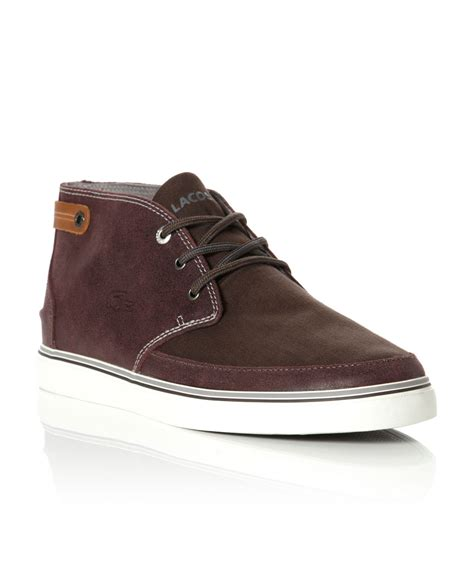 lacoste clavel leather apron boots in brown for
