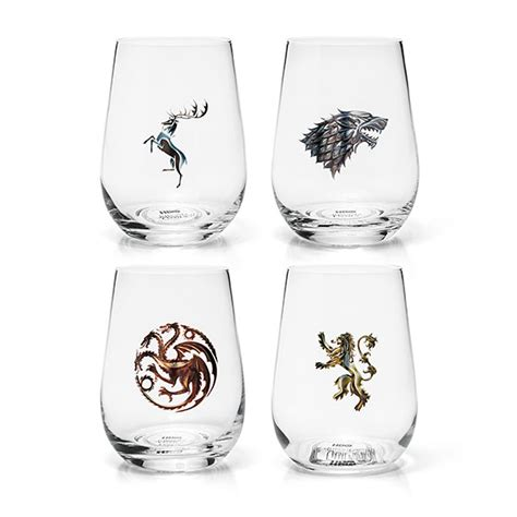 game of thrones wine glasses game of thrones stemless wine glass set of 4