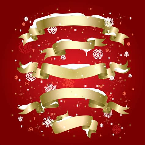 exquisite christmas red elements poster vector free vector