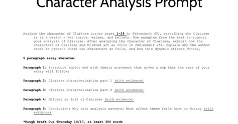 Umuc Mba 630 by Character Analysis Essay Slides