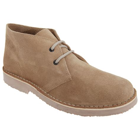 roamers mens real suede toe unlined lace up desert