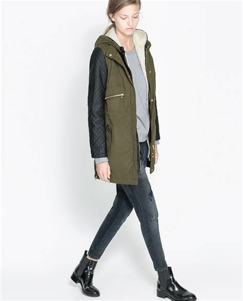 Outwear Zara Original aliexpress buy original za winter 2014 warm coat s army green leather stitching