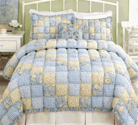 Blue Quilt Set Country Blue Plaid Puff Quilt Set