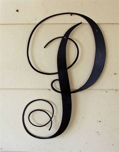 black script metal letter p door or wall by