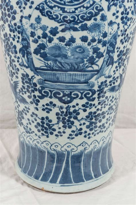 Large Blue And White Vases by Pair Of Large Blue And White Porcelain Vases At