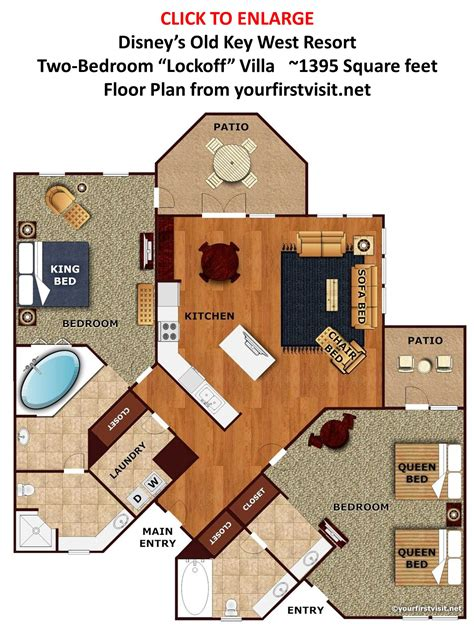 Old Key West Two Bedroom Villa Floor Plan | studio second bedroom spaces at disney s old key west