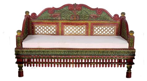 asian sofa furniture beautifully hand painted intrinsically carved teak wood