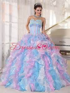 quinceanera colors multi color gown sweetheart floor length organza