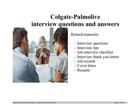 Colgate Palmolive Mba Internship by Colgate Palmolive Questions And Answers