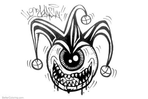 graffiti coloring pages graffiti coloring pages one eye free printable