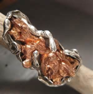 Contemporary Design melted copper and sterling silver ring this ring has a