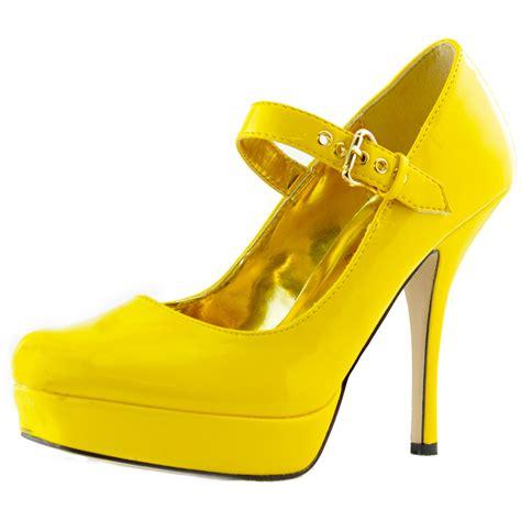 yellow high heels shoes maryjane high heel platform fashion patent