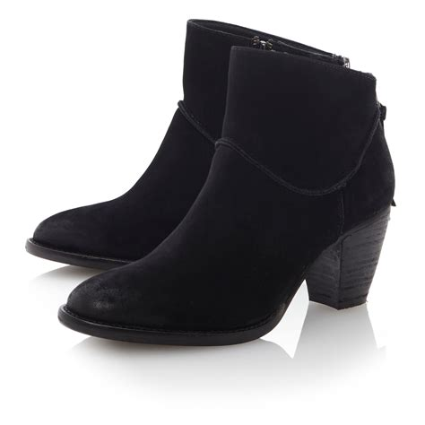 steve madden milan back counter zip ankle boots in black