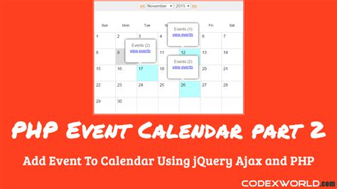 Add Events To Calendar Add Event To Calendar Using Jquery Ajax And Php Codexworld