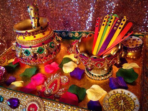 An oil and Mehndi tray for the Mehndi Rasam   Mehndi decor